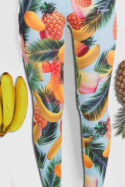Jungle Fruits Printed Leggings by Fusion